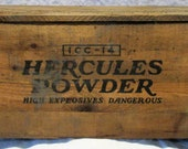 Blasting Caps Box, Antique Box, Old Wood Mining Crate, Hercules Powder Company, Factory Advertising