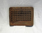 Vent Grate Cover or Radiator Grate Cover, Rectangular Cast Iron Factory Architectural Salvage