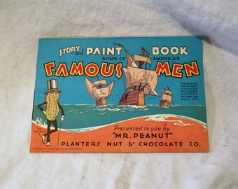 planters peanuts 1932 advertising coloring book etsy