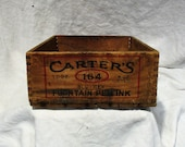 Wood Crate, Vintage Shipping Crate, Carter 39 s Ink, Factory Advertising Antique Box