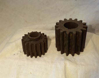 Metal Gears, Cogs or Sprockets, Lot of 2 Gears, Rusty Industrial Factory Salvage