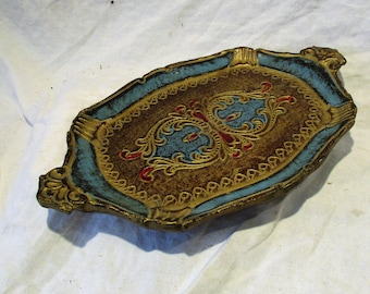 Serving Tray, Dresser Tray, or Trinket Tray, Vintage Wood Hand Painted, Mid Century Italian