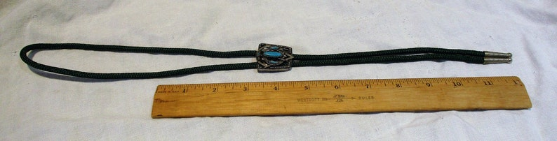 Western Bolo Tie Turquoise and Silver Detail Men/'s Accessory Vintage American West Wear