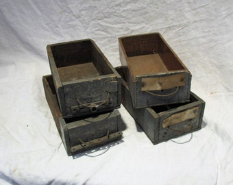 Wood Drawers, Old Industrial Factory Salvage, Antique Gray Drawers, Repurpose as Organizers