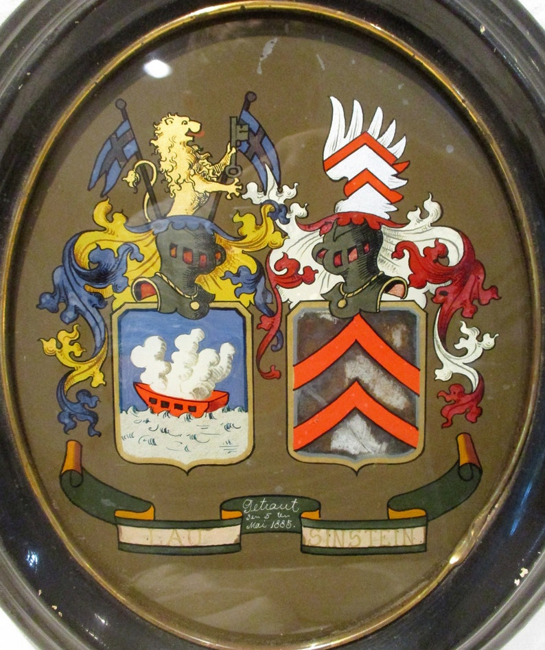 German or Prussian Marriage Crests Reverse Painted Glass Family History 1800s