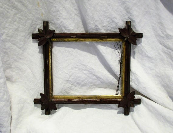 Wood Picture Frame Tramp Art Frame Great Antique Folk Art   Etsy