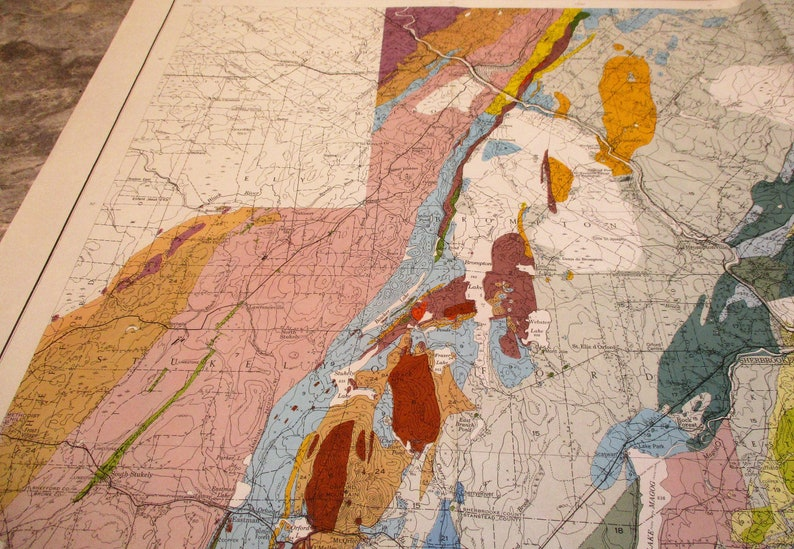 Vintage Map Sherbrooke Large Colorful Map Canada US Border Region Quebec 1950 Geological and Mining Map