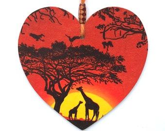 """Giraffes Heart - 15cm (6"""") Wooden Hanging Heart, Decoupaged Decorated Heart"""