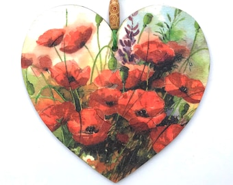 """Poppies Heart - 15cm (6"""") Wooden Hanging Heart, Decoupaged Decorated Heart"""