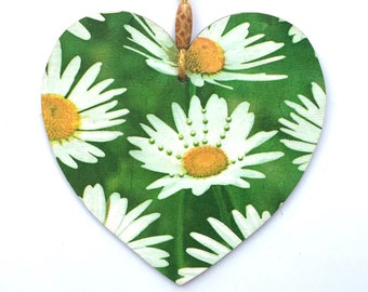 """White Daisies Heart - 15cm (6"""") Wooden Hanging Heart, Decoupaged Decorated Heart"""