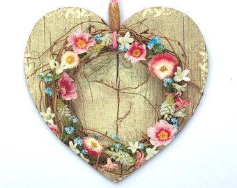 """Floral Wreath Heart - 15cm (6"""") Wooden Hanging Heart, Decoupaged Decorated Heart"""