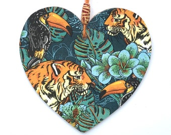 """Tiger Heart - 15cm (6"""") Wooden Hanging Heart, Decoupaged Decorated Heart"""