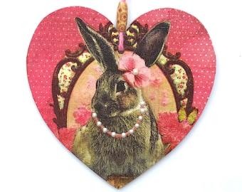 "Rabbit Heart - 15cm (6"") Wooden Hanging Heart, Decoupaged Decorated Heart"