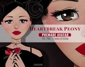 Heartbreak Peony Premade Avatar / Fashion Illustration / Cute Girl Avatar
