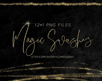 12 Glitter Gold Swashes / PNG Clipart / Standard Commercial License