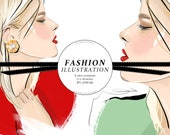 Vintage Earrings Fashion Illustration / Printable Art / Fashion Clipart