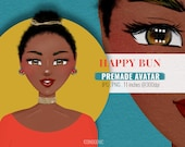 Happy Bun Premade Avatar / Fashion Illustration / Cute Afro Girl Avatar Clipart