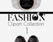 FASHION Photo Clipart Vol. 1 PNG PSD Authentic Top View Scene Design
