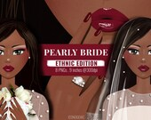 Pearly Bride Clipart / Ethnic Edition / African-American Bride / Styled Avatar / Luxury Bridal Clipart Illustration