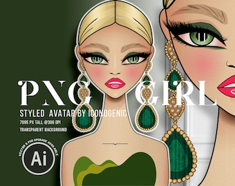 PNG Girl Clipart, Standard Commercial Use, Fashion Illustration Avatar, Fashion Girl Sticker