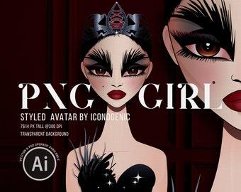 Black Swan PNG Girl Clipart, Standard Commercial Use, Fashion Illustration Avatar, Fashion Girl Sticker