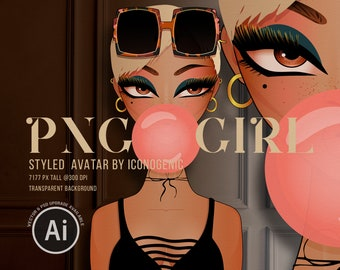 Bubblegum Girl PNG Girl Clipart, Standard Commercial Use, Fashion Illustration Avatar, Fashion Girl Sticker