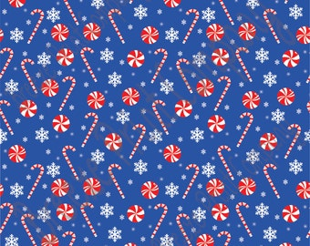 Blue candy cane and snowflake craft  vinyl sheet - HTV or Adhesive Vinyl -  winter Christmas pattern HTV1703