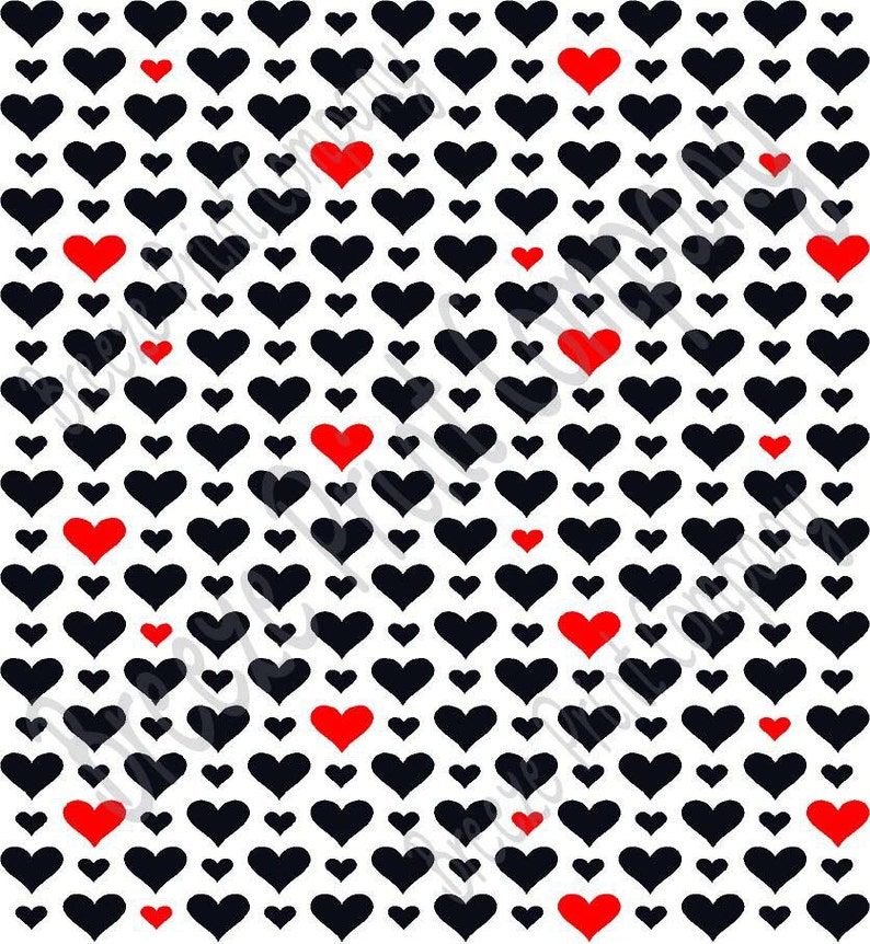 44d23cc47a3ddb Patterned Vinyl White with black and red heart craft vinyl
