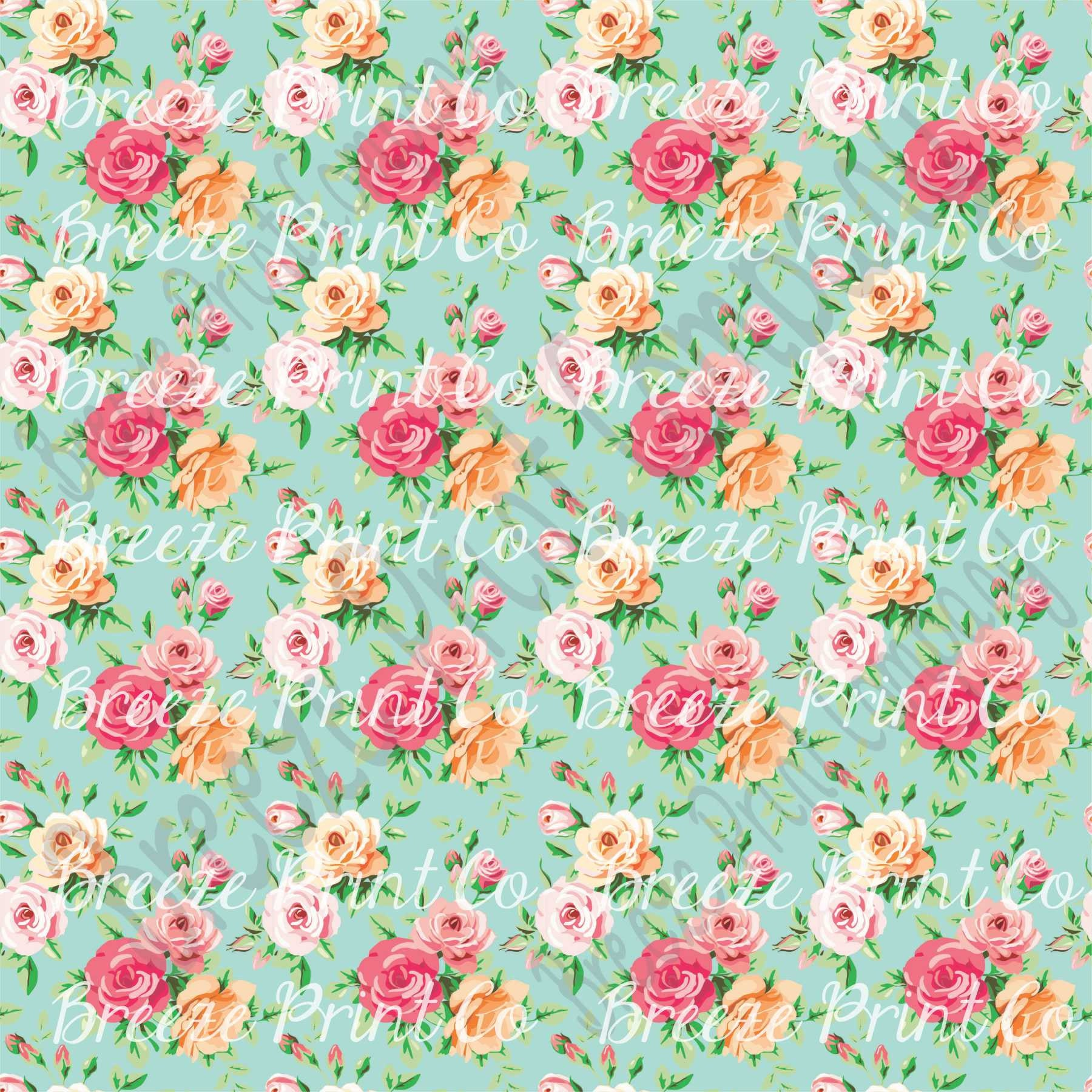 Patterned Vinyl Sheets Rose Floral Craft Vinyl Sheet Htv Or Etsy