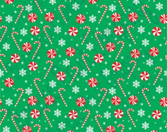 Green candy cane and snowflake craft  vinyl sheet - HTV or Adhesive Vinyl -  winter Christmas pattern HTV1702