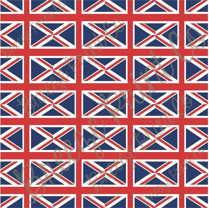 Union Jack flag print heat transfer or adhesive patterned vinyl sheet,  Great Britain 24 - 2x3 inch flags on 12x12 inch sheet HTV2824