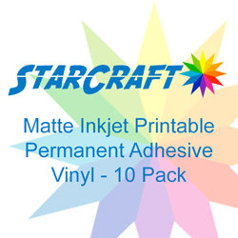 photograph relating to Starcraft Printable Htv known as StarCraft Inkjet Printable Matte Long lasting Adhesive Vinyl 10-Pack 8.5x11 inch sheets