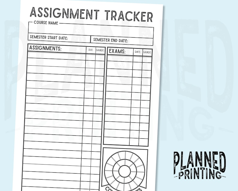 image relating to Assignment Tracker Printable referred to as A5 Semester Assignment Tracker Printable