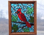 Cardinal Stained Glass Mosaic Panel for Hanging in Window, Red Bird with Maple Leaves, Great Gift for Birdwatcher or for Memory of Loved One