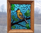 American Goldfinch Bird Stained Glass Mosaic Panel for Hanging in Window, Great Gift for Birdwatcher, Yellow State Bird Suncatcher