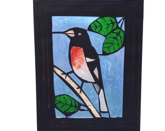 Rose-Breasted Grosbeak Bird Suncatcher for Hanging in Window, Stained Glass Mosaic Panel of Red Breasted Black and White Songbird