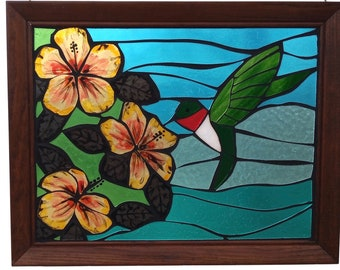 Hummingbird Stained Glass Mosaic Panel for Hanging in Window, Ruby Throated Humming Bird with Yellow Hibiscus Flowers, Artwork for Gardener
