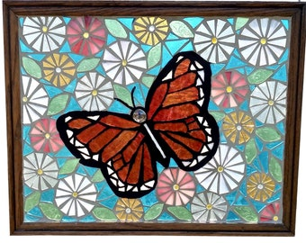Stained Glass Panel of Monarch Butterfly in Flower Garden,  Mosaic Artwork Window Hanging featuring Orange Butterfly and Pastel Asters
