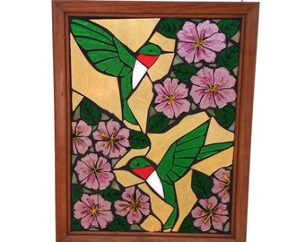 Ruby Throated Hummingbird Stained Glass Mosaic Panel for Hanging in Window, Pink Petunia Flowers with Bird Suncatcher