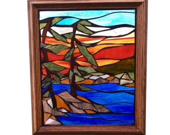 Northern Pine Stained Glass Mosaic Panel, Rugged Landscape of Lake with Windswept Pines and Colourful Sky