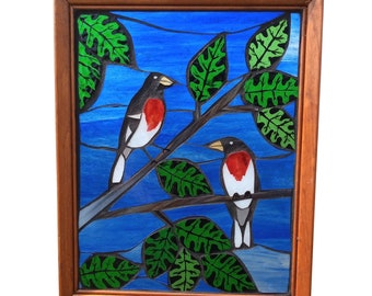 Rose-breasted Grosbeak Bird Suncatcher created using Stained Glass Mosaic for Hanging in Window, Great gift for Birdwatcher