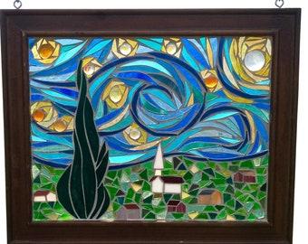 Starry Night Stained Glass Panel, Vincent Van Gogh Modern Art Mosaic, Famous Artist Masterpiece Glass Window, Night Sky Artwork