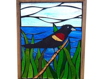 Stained Glass Red-Winged Blackbird Suncatcher Mosaic for Hanging in Window, Great gift for Birdwatcher, Summer Black Bird in Grass