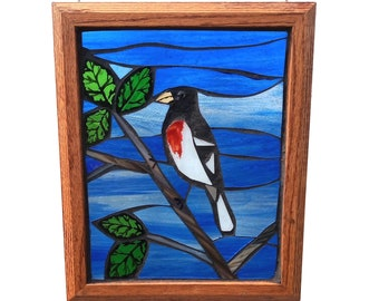 Stained Glass Mosaic featuring Rose-breasted Grosbeak Bird, Suncatcher for Hanging in Window, Great gift for Birdwatcher