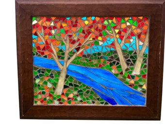 Autumn Maple Tree Stained Glass Mosaic Panel, Fall Woodland Landscape with Stream for Hanging in Window