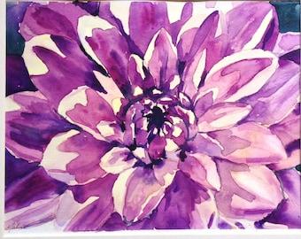 Botanical Painting Pink Dahlia Watercolor Painting  Dahlia Painting Pink Floral Up Close Watercolour - Purple Dahlia Flower Blossom