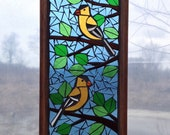 Yellow American Goldfinch Stained Glass Mosaic Panel for Hanging in Window, Great Gift for Birdwatcher, State Bird Sun Catcher
