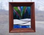 Winter Northern Lights Stained Glass Mosaic Panel for Hanging in Window, Aurora Borealis Wintertime Night Scene