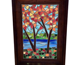 Woodland Suncatcher with Fall Maple Trees, Stained Glass Panel for Hanging in Window , River Scene Mosaic Autumn Landscape
