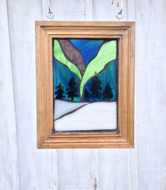 44293438a833 Northern Lights Stained Glass Mosaic Suncatcher Aurora